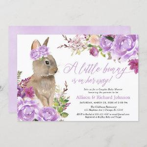 Purple easter bunny couples girl baby shower invitation