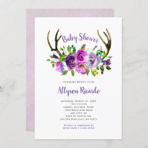 Purple Floral Boho Antlers Baby Shower Invitation