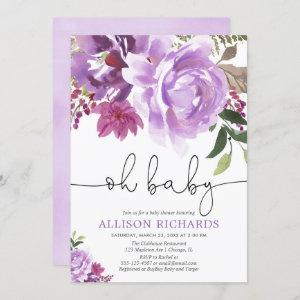 Purple floral girl baby shower, summer spring invitation