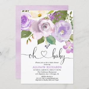 Purple floral watercolors girl baby shower invitation