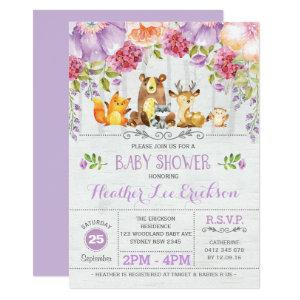 Purple Floral Woodland Animals Baby Shower Invite