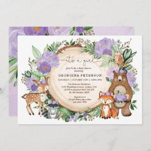 Purple Floral Woodland Forest Animals Baby Girl
