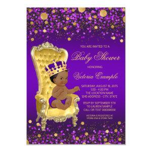 Purple Gold African American Prince Baby Shower Invitation