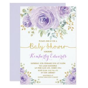 Purple Gold Boho Floral Rose Girl Baby Shower Invitation
