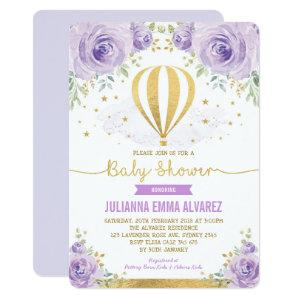 Purple Gold Floral Hot Air Balloon Baby Shower Invitation