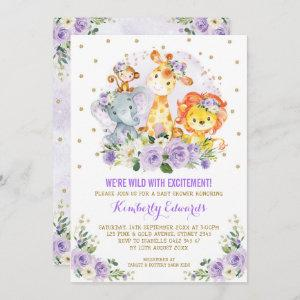 Purple Gold Girl Jungle Safari Baby Shower Invitation