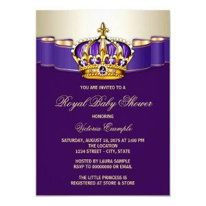 Purple Gold Princess Crown Baby Shower Invitation
