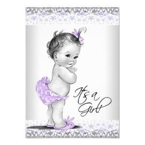 Purple Lavender and Gray Baby Girl Shower Invitation