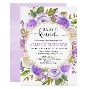 Purple lavender gold floral girl baby brunch invitation