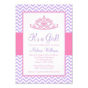 Purple Pink Chevron Princess Crown Baby Shower Invitation