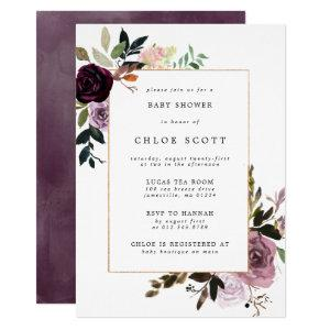 Purple Plum Mauve Pink Floral Baby Shower Invitation