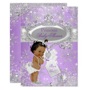 Purple Princess Winter Baby Shower Ethnic Invitation