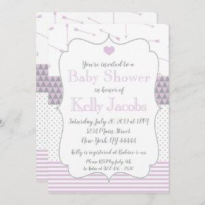 Purple Quilted Heart Arrows Baby Shower Invitation