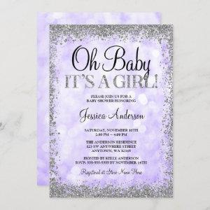 Purple Silver Faux Glitter Lights Girl Baby Shower Invitation