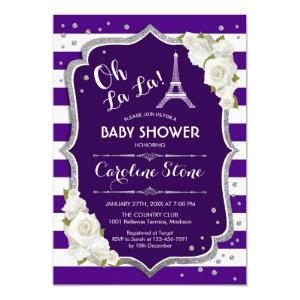 Purple Silver French Style Baby Shower Invitation
