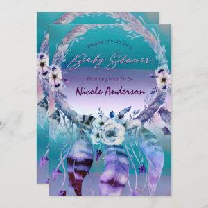 Purple & Teal Dream Catcher Boho Chic Baby Shower Invitation