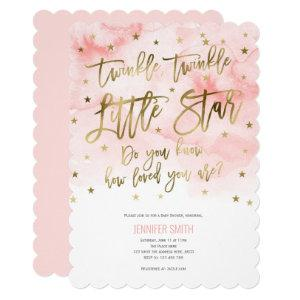 Purple, Twinkle Stars , Watercolor, Baby Girl Invitation