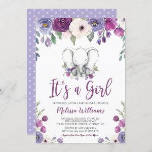 Purple Watercolor Floral Elephant Girl Baby Shower Invitation