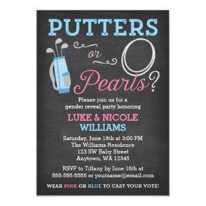 Putters or Pearls Gender Reveal Party Invitation