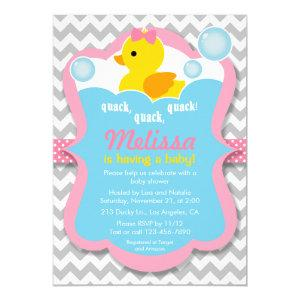 Quack Rubber Ducky Girl Baby Shower Invitation