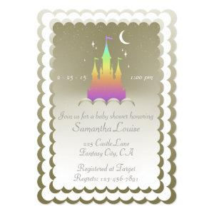 Rainbow Dreamy Castle In The Clouds Baby Shower Invitation