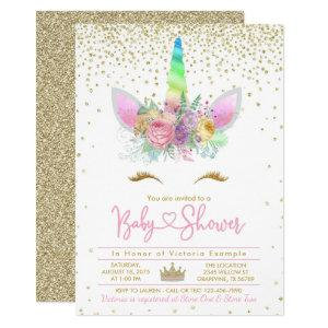 Rainbow Unicorn Baby Shower Invitation