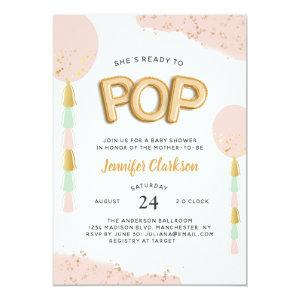 """""""Ready to Pop"""" Baby Shower Balloons Invitation"""