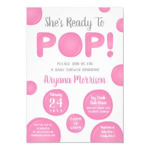 Ready To Pop Baby Shower, Pink Invitation