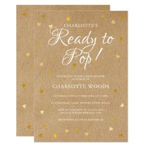 Ready to Pop Baby Shower / Sprinkle Gold Hearts Invitation