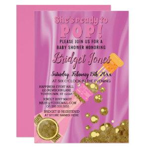 Ready to Pop Champagne Pink Baby Girl Shower Invitation