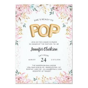 """""""Ready to Pop"""" Floral Baby Shower Balloons Invitation"""