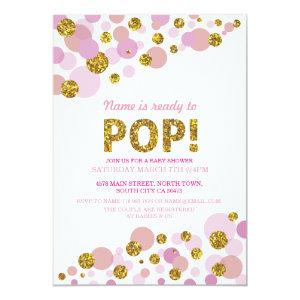 Ready to Pop Girl Baby Shower Pink Gold Invite