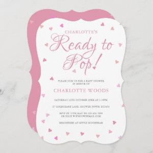 Ready To Pop Pink Hearts Baby Shower / Sprinkle