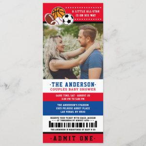 Red All Star Sport Ticket Couples Shower Photo