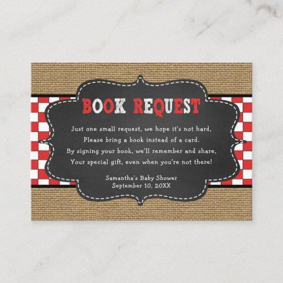 Red Baby Q, BBQ Baby Shower book request card