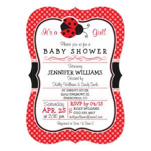 Red & Black Ladybug; Cute Baby Shower Invitation