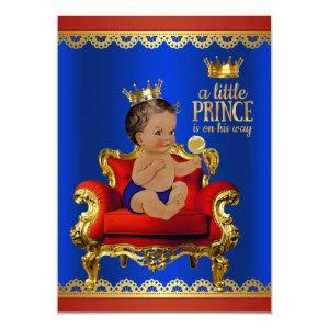 Red Blue Gold Chair Ethnic Prince Boy Baby Shower Invitation