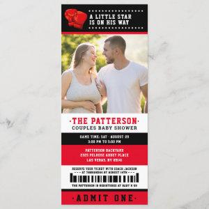 Red Boxing Ticket Couples Baby Shower Photo Invitation