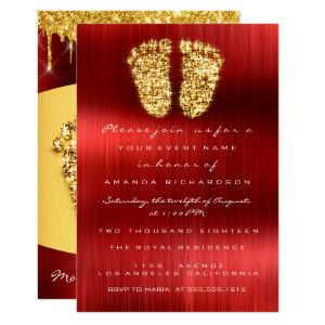 Red Carpet Drips Gold Royal Baby Shower Feet Boy Invitation
