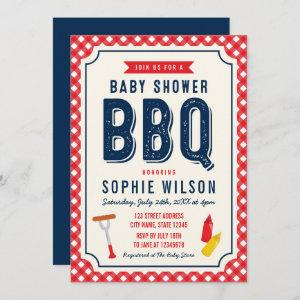 Red Gingham and Blue Baby Shower BBQ Invitation