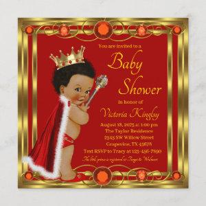 Red Gold Afro Prince Baby Shower