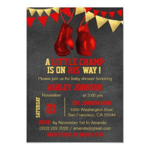 Red Gold Boy Boxe Boxing Baby Shower Invitations