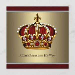 Red Gold Crown Prince Boy Baby Shower