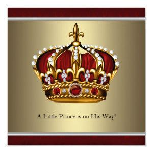 Red Gold Crown Prince Boy Baby Shower Invitation