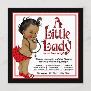 Red Ladybug African American Girl Baby Shower Invitation