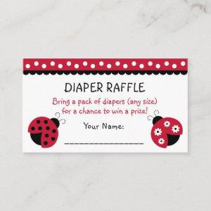 Red Ladybug Diaper Raffle Tickets Enclosure Card