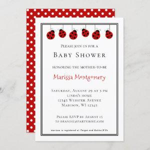 Red Ladybug Girl Baby Shower Personalized Invitation