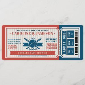 Red Vintage Baseball Ticket Couples Baby Shower