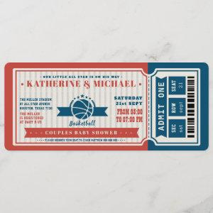 Red Vintage Basketball Ticket Couples Baby Shower Invitation