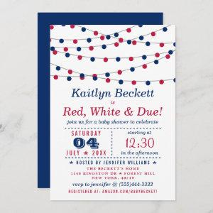 Red, White & Due | 4th Of July Baby Shower Invitation
